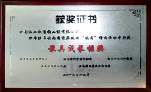 汉工钢构荣获最具成长奖