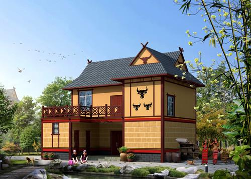 佤族钢结构民居效果图